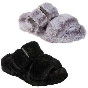 Womens Skechers Wedge Slide Sandals Faux Fur Cozy Slip On Memory Foam Slippers