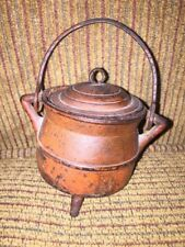 Antique Miniature Cast Iron Footed Pot W/ Lid & Handle Salesman Sample~Toy