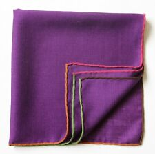 Wool & silk, purple pocket square handkerchief 42cm. Hand rolled