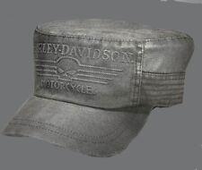 Harley davidson Mens Linear Skull Flat Top Cap HAT (L) HARLEY HAT