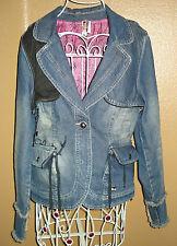 AKDMKS Denim Faux Bolero Embroidered Lined Cotton Blazer Jean Jacket SZ M-XL/TG?