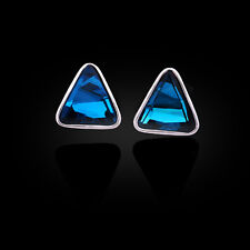 LOVELY RHODIUM SILVER PLATED TURQUOISE TRIANGLE CUBIC ZIRCONIA STUD EARRINGS