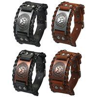 Men's Retro Punk Rock Wide Leather Bracelet Wolf Paw Wristband Bangle Cuff Belt