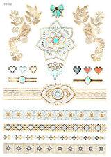 Flash Tatouage Body Temporaire Bijoux argent/doré Métallique henné Bracelet YH2