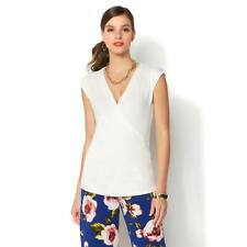 IMAN Global Chic Womens Luxury Resort Crossover V-Neck Top White Large Size HSN