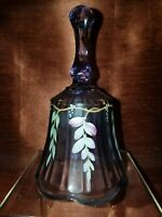 Purple Hand Painted Fenton Glass Bell
