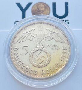 5 Reichsmark Silver Coin 1938 F Third Reich Germany, Paul von Hindenburg 5 Mark