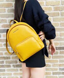 Michael Kors Erin Medium Abbey Backpack Marigold Yellow Pebbled Leather