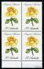 1982 27c Roses Marjorie Atherton Selvedge Block of Four 4 Stamp MUH Australia