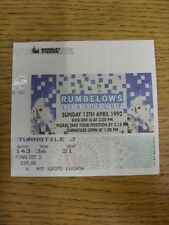 12/04/1992 Ticket: Football League Cup Final, Manchester United v Nottingham For