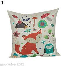 Simple Cartoon FOX & OWL Natural Colour Base LINEN-COTTON CUSHION Cover, GB Sale