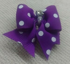 4x Cute Assorted Pet Hair Bows Rubber Band Dogs Cat Puppy Accessories PURPLE