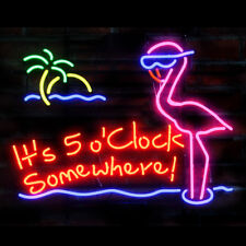 Neon Signs It's 5 O'clock Somewhere Pink Flamingo Beer Bar Pub Party Decor 19x15