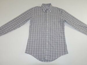 Brooks Brothers Men's Non Iron Dress Shirt Small Long Sleeves Gray White Plaid S