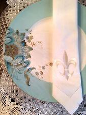 4 Unique Wedding Embroidered White Linen Dinner Napkins w/ fleur-de-lis symbol