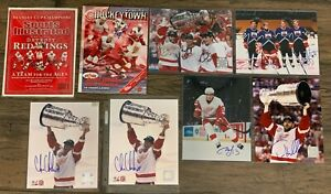 Lot of 8 Detroit Red Wings SIGNED Photos FOUND IN A STORAGE UNIT