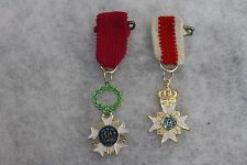 Original WW2 Era Belgium & Sweden Mini Medals w/Ribbons, Marked