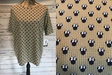 Lularoe Irma Tunic Disney XL Extra Large 22-24 Minnie Mouse Dots Navy Beige Gold