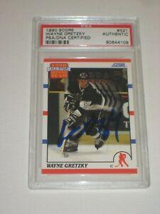 WAYNE GRETZKY Signed 1990 SCORE Card #321 PSA Certified