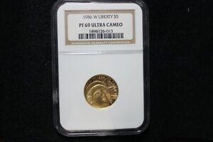 1986 W LIBERTY $5 GOLD COMMEMORATIVE-NGC PF69 Ultra Cameo