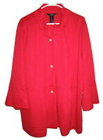 Womens Ali Miles Red Knobby Flare Coat Big Pearl Look Buttons Size 2X NWT