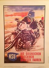 NSU Motorcycle Reprint 1st On eBay Car Poster. Own It