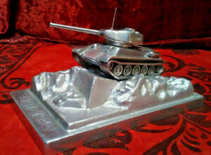 Handmade vintage tabletop model Tank T-34 Made in USSR. Large metal model!