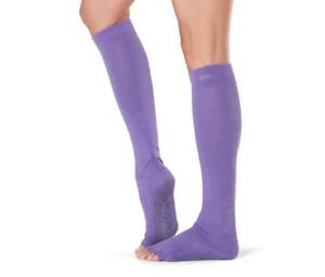 ToeSox Scrunch Knee High Half Toe Grip Sole Socks Women's MEDIUM Purple
