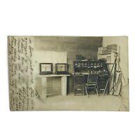 Vintage 1909 Real Photo Postcard RPP Weighing Room Scales Scientific Equipment
