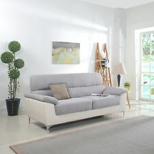 Modern Two-Tone Fabric and Bonded Leather Living Room Sofa