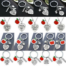 Apple Teachers Gifts Love Heart Necklace Pendant Presents For Teacher Key Rings