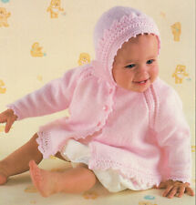 "Baby Lace Edge Prem Matinee Coat & Bonnet 12 - 20""  4Ply  Knitting Pattern"