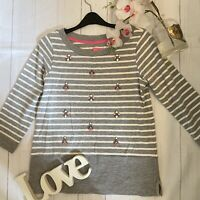 Joules Size 12 grey striped beaded casual fitted Marnie Stripe top cotton GC
