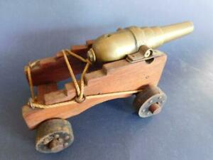 C2 Fine Antique Bespoke Desktop Miniature Wood & Brass Roped Cannon 1800s
