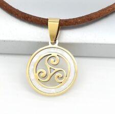 Gold Triskelion Triskele Irish Celtic Shell Pendant Brown Leather Cord Necklace