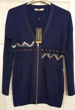 KAREN MILLEN KNIT JUMPER DRESS SIZE KM 4, UK12 - 14, NAVY BLUE