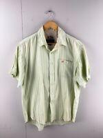 Timberland Men's Short Sleeved Button Up Shirt Size L Green Blue Stripe