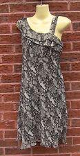 Ladies Dorothy Perkins Grey & Black One Shoulder Dress, Size 8, VGC