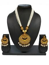 Indian Bollywood Ethnic White Temple Fashion Traditional Necklace set For Women