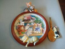 Bradford Exchange Kitten Capers Clock 2007 Cats Brace Pawprints Heart Pendulum