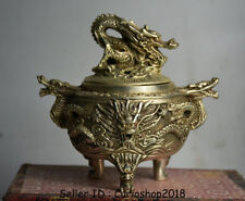 """5.6"""" Marked Old Chinese Silver Dynasty Palace Dragon Bead Incense Burner Censer"""
