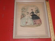 ANTIQUE FRAMED FRENCH FASHION PRINT  1800'S