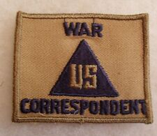 """WWII """"WAR US CORRESPONDENT"""" NON-COMBATANT PIECE ON TAN TWILL"""