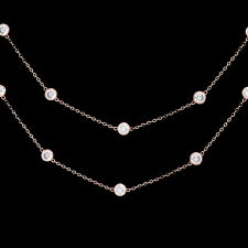"""4CT Created Diamond By The Yard Bezel Station Necklace 14k Rose Gold Chain 18"""""""