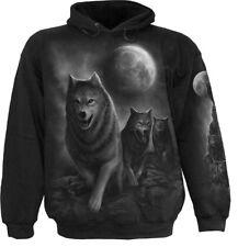 SPIRAL DIRECT WOLF PACK WRAP Hoody/Tattoo/Wolves/Moon/Native/Biker/Tattoo/Hood