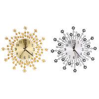 Modern 3D Luxury Metal Living Room Diamond Silent Wall Clock Home Decoration