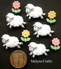 COUNTING SHEEP Craft Buttons 1ST CLASS POST Themed Flower Nursery Baby Lamb Farm