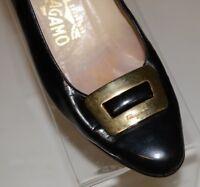 Salvatore Ferragamo Sz 6.5 C Patent Leather Pumps Gold Tone Buckle Vintage Italy