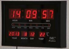LED - Wanduhr rot mit Datum & Temperaturanzeige günstig modern Led-Uhr Uhr OVP