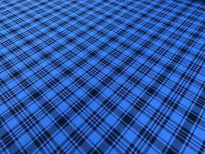 Spirit Of Le Mans Tartan Plaid Fabric RS Blue/Black 1 meter x 150cm
